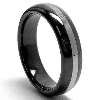 8MM Dome Two Tone Black Tungsten Ring Wedding Band Size 10 Jewelry