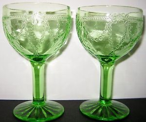 "2 Vintage Anchor Hocking Cameo Green Depression Pattern Glass 4"" Wine Glass 3 Oz"