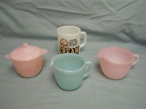 Anchor Hocking Fire King Delphite Blue Pink Milk Glass Ziggy Mug Vintage Old