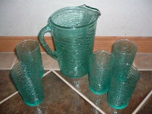 Vtg Anchor Hocking Aqua Blue Soreno Glass Juice Water Pitcher 5 Water Glasses
