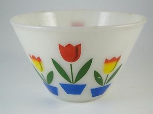 Vintage Anchor Hocking Fire King Tulip Decorated Mixing Bowl Dish Glass 6 5""