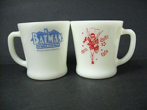 Lot 2 Batman Robin Fire King Anchor Hocking Milk Glass Mugs