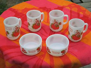 Vintage Anchor Hocking Fire King Strawberry Shortcake Milk Glass Bowl Mug Lot