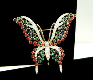Vintage Crown Trifari Butterfly Brooch Pave Set Rhinestones Red Green Blue