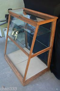 Antique Candy Counter Antique Store Display Cabinet w Glass Shelves Pick Up Only