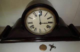 Antique Gilbert Wooden Tambour Mantle Clock w Key Pendulum