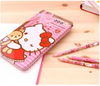 Hello Kitty 12 Colored Drawing Pencils Set Writing Sketching Art Supplies Teddy