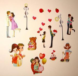 Baby Childrens Girls Boy Kid Child Bedroom Love Heart Couple Teddy Wall Stickers
