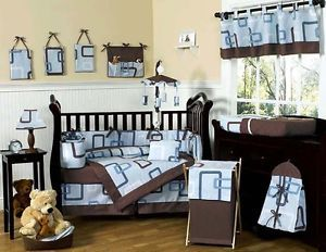 Unique Geometric Blue Chocolate Brown Cheap Designer Baby Boy Crib Bedding Set