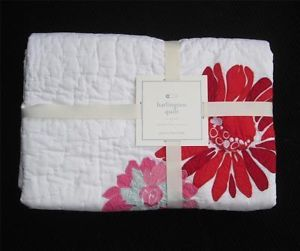 New Pottery Barn Kids Harlington Quilt Nursery Baby Crib Bedding Red Pink Flower