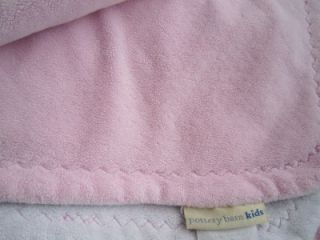 Pottery Barn Kids Baby Chamois Stroller Blanket Girl Soft Pink White Plush Bed