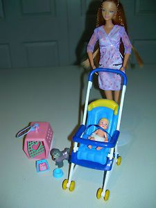 Happy Family Pregnant Midge Barbie Doll Stroller Baby Pet Dog Carrier for OOAK