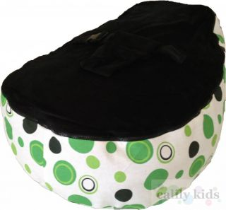 Baby Toddler Kids Portable Bean Bag Seat Green Dot Black