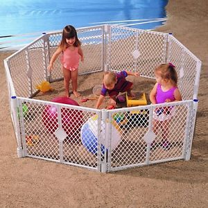 North States Classic Superyard Baby Pet Gate Portable Play Yard 8 Panel