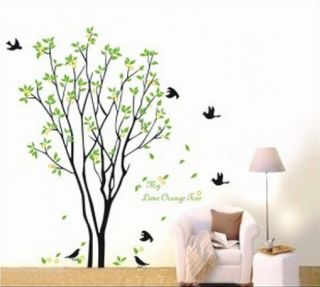 Tree with Cage Flying Birds Leaves Wall Art Sticker Decal Mural Transfer Tattoo