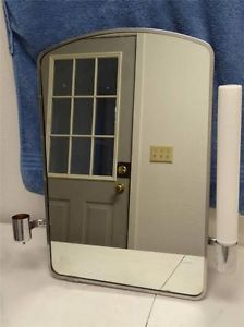 Vintage Bathroom Vanity Medicine Cabinet Mirror Art Deco Milk Glass Light UL