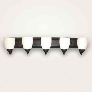 Bathroom Vanity 5 Lamp Oil Rubbed Bronze Light Fixture Wall Sconce Opal Shades