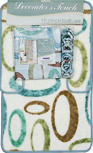 Aqua Multicolored Oval Rings Shower Curtain Bathroom Contour Bath Rug 15 PC Set