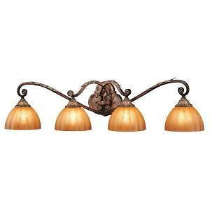 Hampton Bay 396758 Chateau DeVille 4 Light Walnut Bathroom Vanity Light Fixture