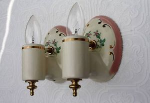 Vintage Pair Art Deco Porcelain Sconces Light Lamp Fixture Plug Outlet Bathroom
