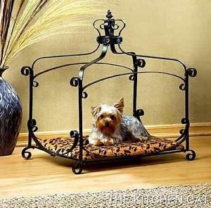 Unique Wrought Iron Frame Small Dog Bed Cat Puppy Princess Crown w Print Cushion