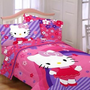 Twin Girls Kids Pink Purple Hello Kitty Comforter Sheets Bed in Bag Bedding Set