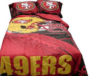 5pcs NFL Football San Francisco SF 49ers Comforter Set Sheets Bed in A Bag Queen