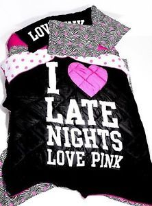 New Victorias Secret Pink I Love Late Nights Bedding Comforter Blanket Twin New
