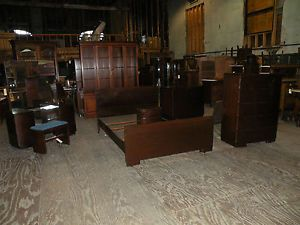 Antique Art Deco Americraft Mahogany Bedroom Set Furniture Solid Heavy