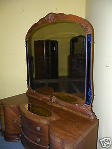 Antique Art Deco Waterfall Bedroom Bed Set Armoire Dresser Nightstand Blue Glass