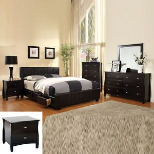 5 Pcs Deep Espresso Low Profile Full Queen King Storage Platform Bed Bedroom Set