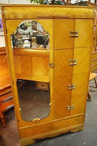 Vintage Set 4 Art Deco Waterfall Bedroom Vanity Chair Armoire Bed Bakelite