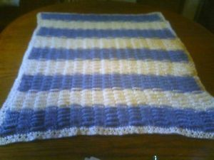 Handmade Crochet Baby Boy Blanket Afghan Throw Blue and White Basketweave