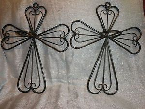 Religious Cross Wrought Iron Wall Sconces Set of 2 Votive Candle Holders Plants