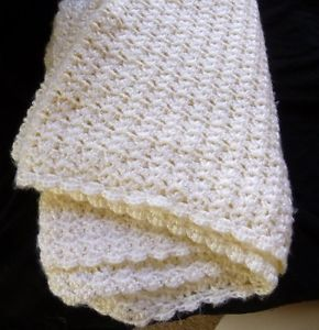 Soft Ivory Handmade Crochet Knit Baby Blanket Crib Throw Lap Blanket Afghan
