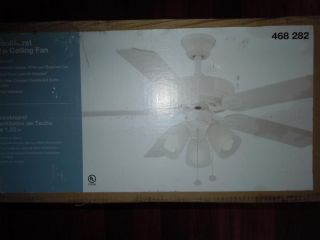 Hampton Bay Brookhurst 52 in White Ceiling Fan with Light Kit