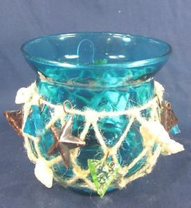 Candle Holder Votive Aqua Blue w Netting and Shells Home Decor