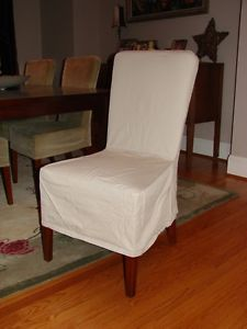 Pottery Barn Megan Side Chair Long Canvas Slipcover with Zipper Set of 6