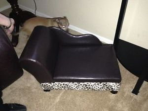 Chocolate Brown Leather Leopard Dog Chaise Lounge Cuteeee Preowned Never Used