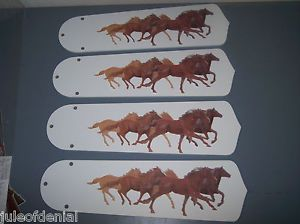 Custom Wild Running Horses Simplistic Western Ceiling Fan w Light Kit L K