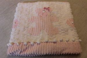 Beautiful Pink N White Teddy Bear Bedspread Chenille Baby Blanket