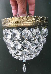 Vintage Round Crystal Glass Bag Chandelier Light Shade