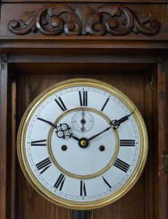 RARE Gorgeous Antique German 2 Weight Wall Clock with Figures on The Pillars