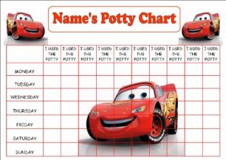 Personalised A3 Cars McQueen Potty Toilet Reward Chart Stickers Certificate