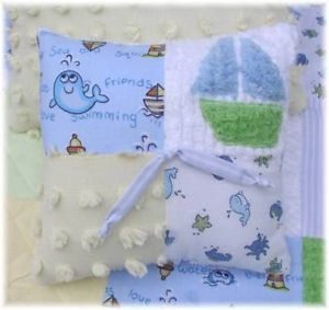 Ocean Friends Chenille Baby Boy Crib Quilt Bedding Blue