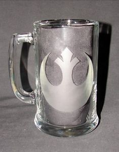 Star Wars Classic Rebel Alliance Logo Hand Etched Beer Mug Glass Coffee Mug