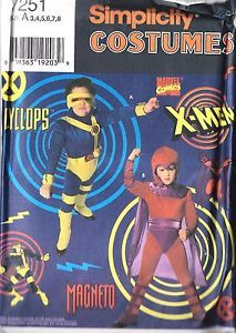 Uncut Vtg Simplicity Sewing Pattern Child's x Men Cyclops Magento Costume 7251