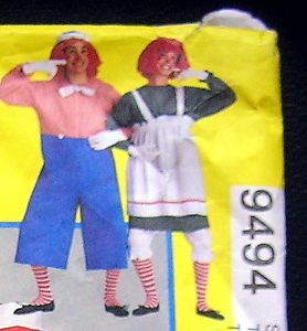 Raggedy Ann Andy Costumes Sewing Pattern McCall's 9494 Grown UPS Large