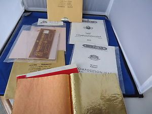 Gold Metal Leaf Sheets Lot Crafts Art Supplies Silver Red