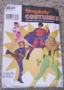 New Uncut Simplicity Kids Pattern Super Hero Costume Power Ranger Size s M L